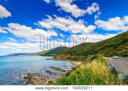Scenic coastal landscape along the Great Ocean road in Lorne Victoria Australia