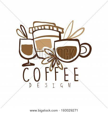 Coffee label design, hand drawn vector Illustration, logo template for branding identity restaurant, cafe, coffee shop, espresso bar, coffeehouse