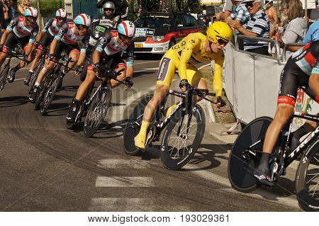 NICE - JULY 2ND : The TOUR 2013 (Tour de France) RadioShack Leopard Team during Nice/Nice Stage 4 (25 km) Bakelants Jan in Yellow