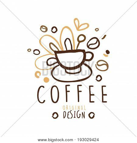 Coffee label original design, hand drawn vector Illustration in brown colors, logo template for branding identity restaurant, cafe, coffee shop, espresso bar, coffeehouse