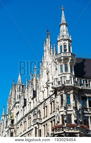 Tower Of The New Town Hall - Neues Rathaus. Munich, Germany.