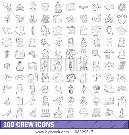 100 crew icons set in outline style for any design vector illustration