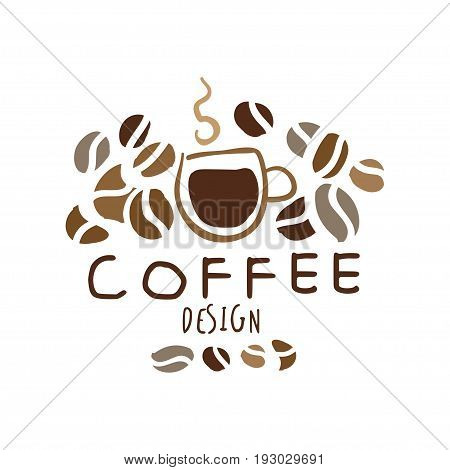 Coffee label design, hand drawn vector Illustration in brown colors, logo template for branding identity restaurant, cafe, coffee shop, espresso bar, coffeehouse