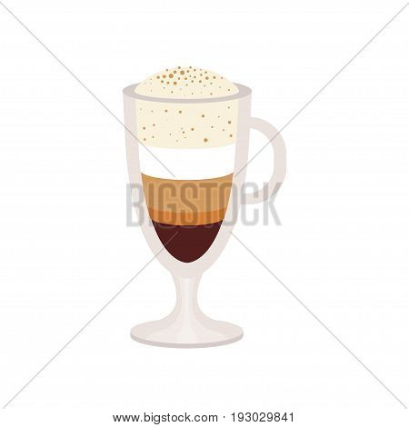 offee caramel macchiato in a glass cup vector Illustration isolated on a white background