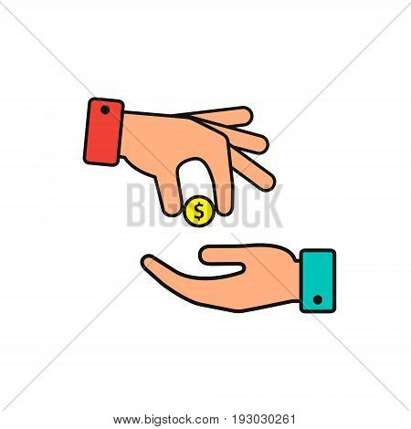 Hand gives money coin to other person icon give alms donate web icon. Vector color illustration.