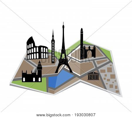 City map vector illustration with streets parks and pond.Map with historical monuments..