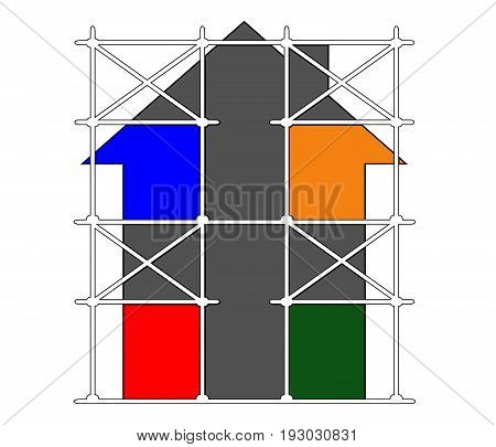 House repair.Vector image of scaffolding for building.House illustration.