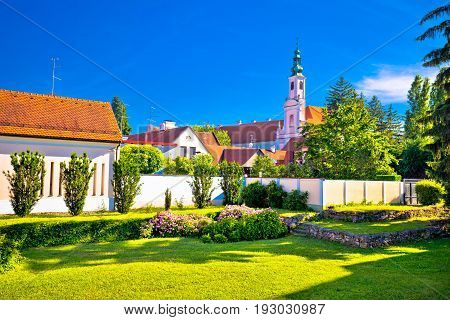 Colorful Street And Green Park In Baroque Town Varazdin