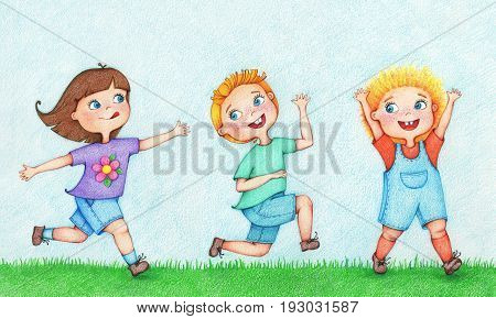 hand drawn illustration of three kids running and chasing after each other in summer by the color pencils