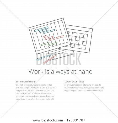 Vector workdesk template with timeline progress graph, gantt chart of project