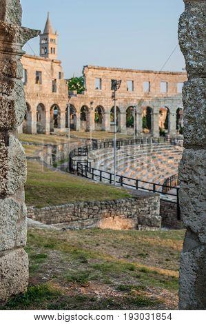 Architecture Details Of The Roman Amphitheatre In Pula