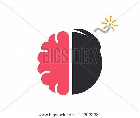 logo design combination of a brain and bomb. Brain and bomb symbol or icon