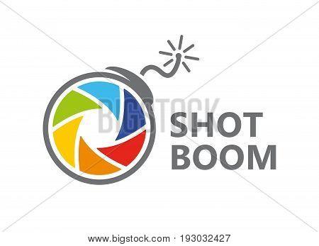 logo design combination of a camera shutter and bomb. Camera shutter and bomb symbol or icon