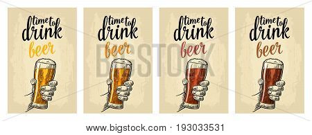 Male hand holding a glass with four types beer - light, white, red and dark. Vintage vector engraving illustration for web, poster, invitation to party. Isolated on beige background