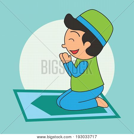 Muslim doing praying (salah), Islamic concept for daily activity and Ramadan holy month, vector illustration