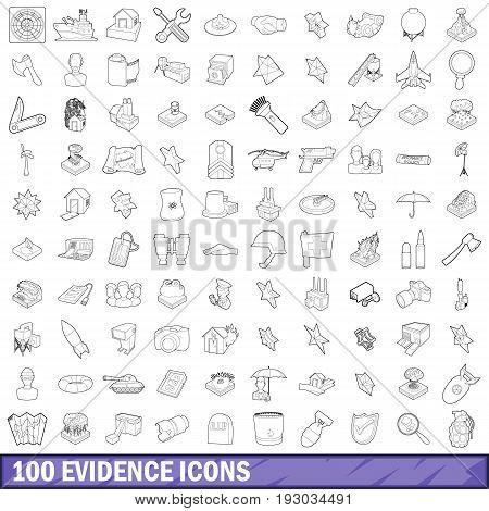100 evidence icons set in outline style for any design vector illustration
