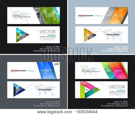 Abstract vector set of modern horizontal website banners with colourful diagonal triangular shapes for construction, teamwork, tech, communication. Clean web headers design with overlay effect.