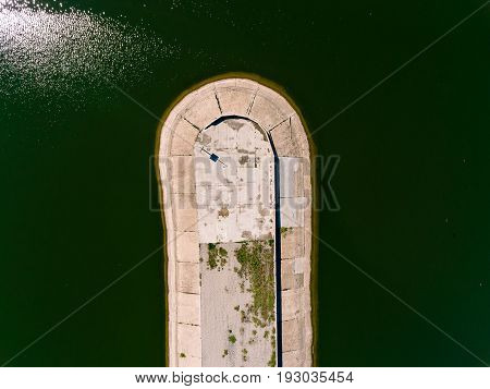 Aerial view breakwater at sea, cutwater, pier, groyne mole