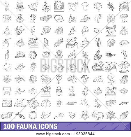 100 fauna icons set in outline style for any design vector illustration