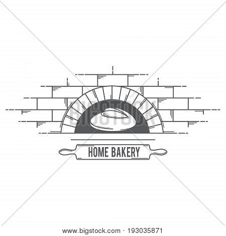 Vector logo for bread products with the image of a rolling pin to roll out the dough the oven which the bread is baked and case labels.