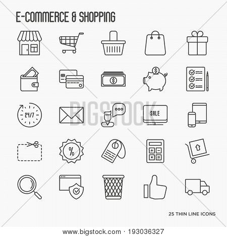 E-commerce, shopping thin line icons set contains such element as shopping cart, payment method, delivery, sale. Vector illustration.