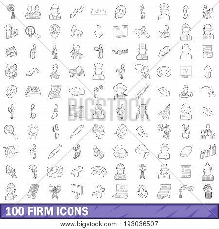 100 firm icons set in outline style for any design vector illustration