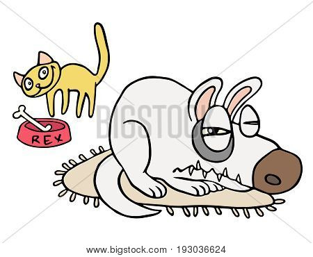 Friendship of playful cat and angry dog.. Cartoon picture fur animals. Kind emotions. Holidays couples. Together forever. Best friends. Vector illustration.