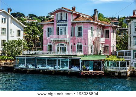 ISTANBUL TURKEY - JUNE 18, 2017: Sea front Istanbul  houses