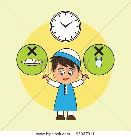 Muslim fasting in month of ramadan no food no drink from dawn to dusk, Islamic concept for daily activity and Ramadan holy month, vector illustration