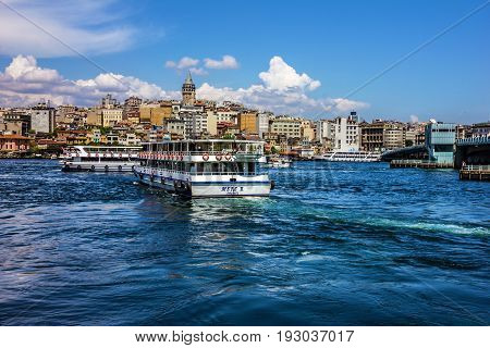 ISTANBUL TURKEY - may 4, 2017: Galata tower seafront of Istanbul in summer season.