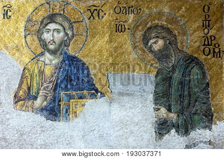 Istanbul, Turkey - June 4, 2017: Icon of Jesus Christ and St. John in Cathedral mosque Hagia Sofia in Istanbul, Turkey