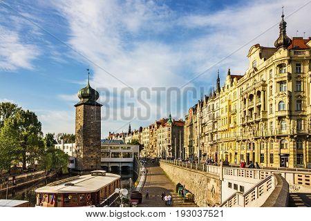 Prague, Czech Republic - June 4, 2017: Embankment of Vltava cityscape