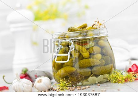 Pickled cucumbers, small marinated pickles, gherkins in glass jar