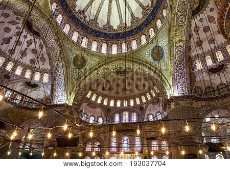 Istanbul, Turkey - May 30, 29017: Internal view of Blue Mosque Sultanahmet, Istanbul, Turkey