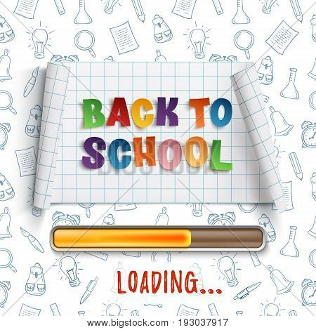 Back to school loadin curved banner on squared paper with hand drawn school tools. Vector illustration.