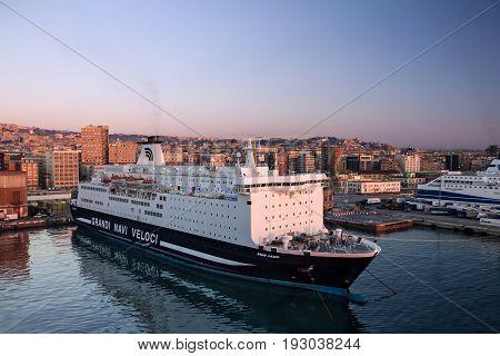 Naples, Italy - May 2, 2017: Naples sea port, Italy. Passenger ship
