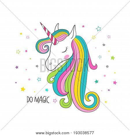 Unicorn head. T-shirt graphic for kid's clothing. Use for print design surface design fashion kids wear
