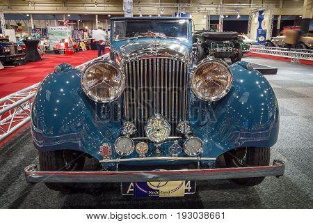 MAASTRICHT NETHERLANDS - JANUARY 14 2016: Vintage car Bentley 4 1/4 Litre Derby Drophead Coupe 1936. International Exhibition InterClassics & Topmobiel 2016