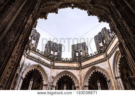 Capella of Batalha Dominican medieval monastery, Portugal - great masterpieces of Gothic art. UNESCO World Heritage