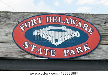 FORT DELAWARE, DELAWARE CITY, DE - AUGUST 1: View of Fort Delaware State Park, Historic Union Civil War Fortress that housed Confederate Prisoners on August 1, 2015