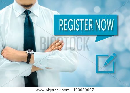 Register now concept. Businessman silhouette in bacground.