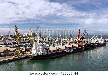 Casablanca, Morocco - May 30, 2017: Cargo vessel Clipper in seaport Casablanca, Morocco