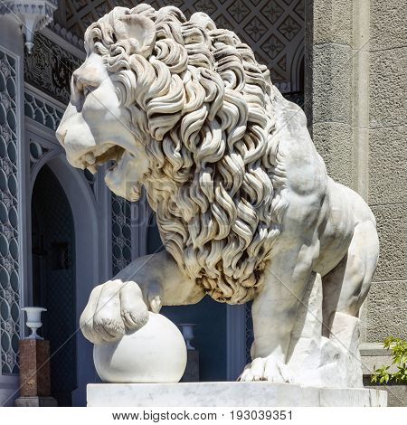 Marble lion sculpture in Vorontsov Palace in Alupka, Crimea, Russia