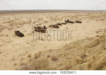 Aral sea shipwreck. The ship's skeleton is on the sand