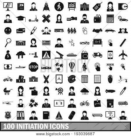 100 initiation icons set in simple style for any design vector illustration