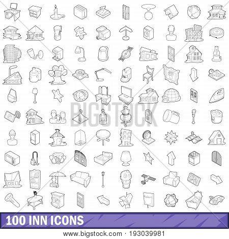 100 inn icons set in outline style for any design vector illustration