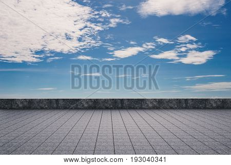 3d rendering empty roof top with cloudy sky background