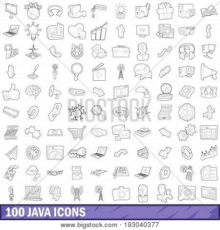100 java icons set in outline style for any design vector illustration