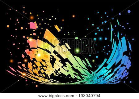 Abstract colorful moving element on black background