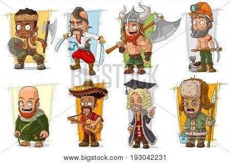 Cartoon cool funny different characters big vector set. Vol 6